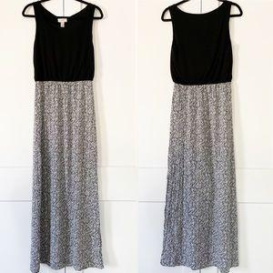 Loft l Black Print Maxi Dress Sz. Small